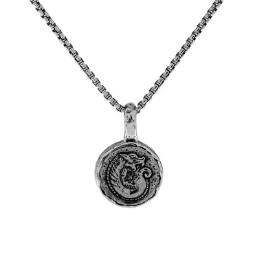 Sterling Silver Small Dragon Coin Pendant