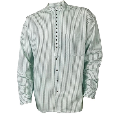 collarless striped dress shirt