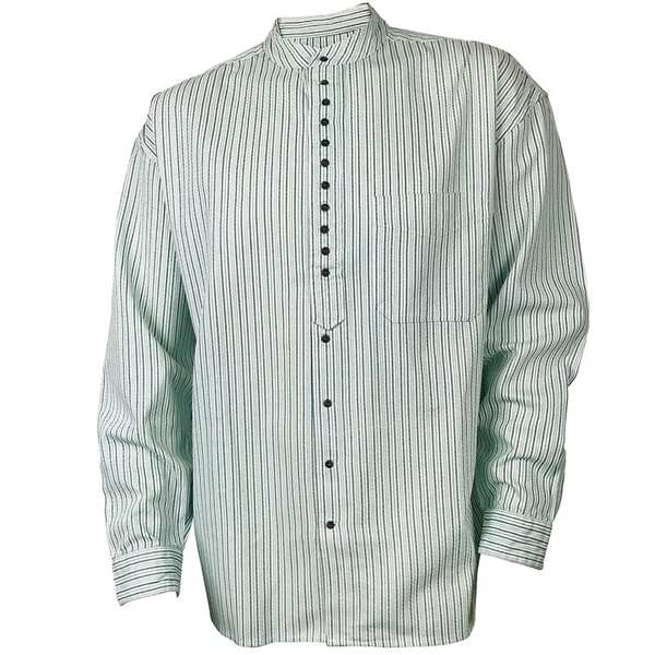front of stripe green grandfather shirt by civilian