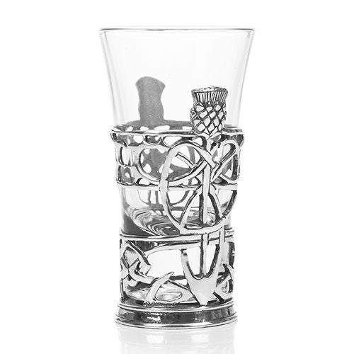 pewter shot glass holder and glass by a e williams