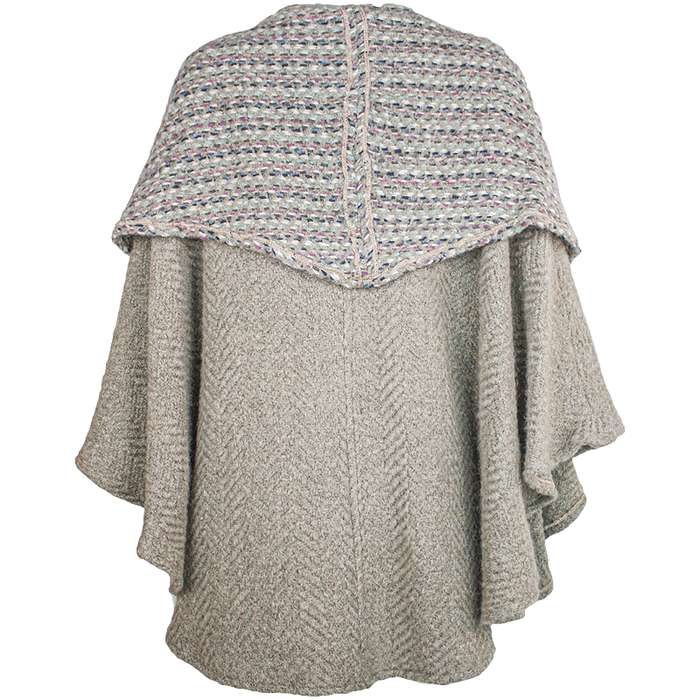 back view of beige tina cape by branigan weavers