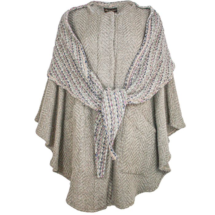 front view of beige tina cape by branigan weavers