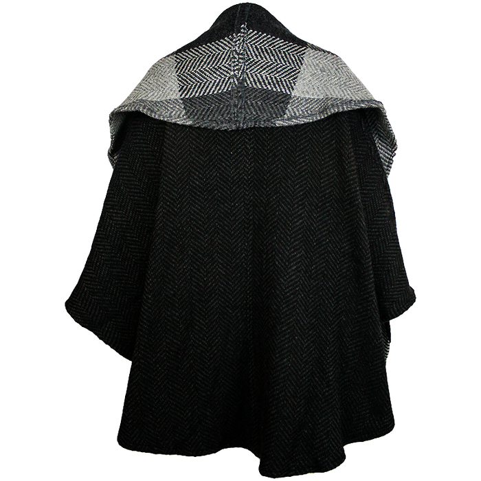 back of natural black button down tina cape by branigan weavers