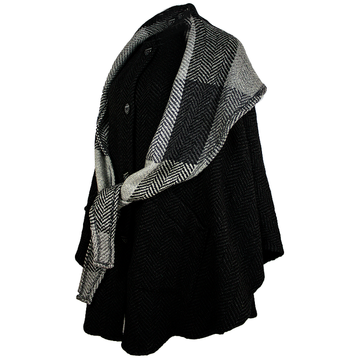 side view of natural black button down tina cape by branigan weavers