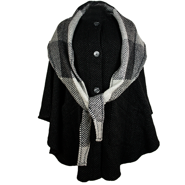 front of natural black button down tina cape by branigan weavers