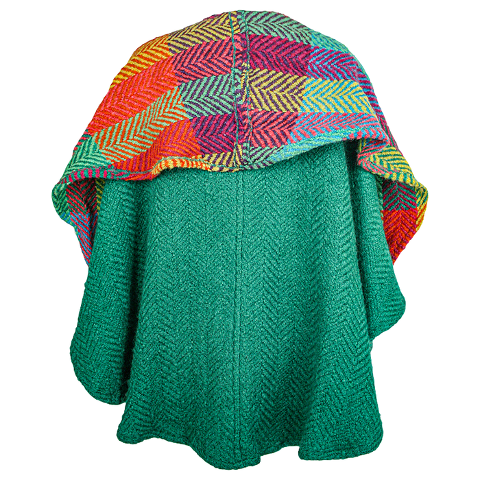 back view of pine tina cape by branigan weavers