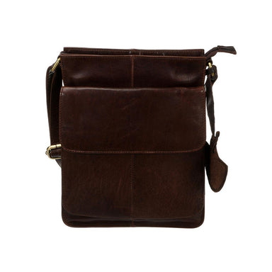 front of tinnakeenly brown leather cross body sling bag