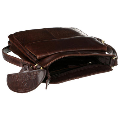 open view of tinnakeenly brown leather cross body sling bag