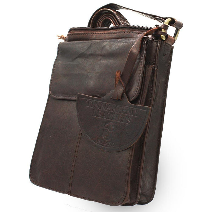 front of tinnakeenly brown leather pub bag