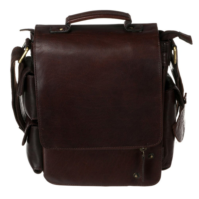 front of tinnakeenly brown leather utility bag