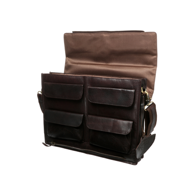 open side view of tinnakeenly leather macbook satchel bag