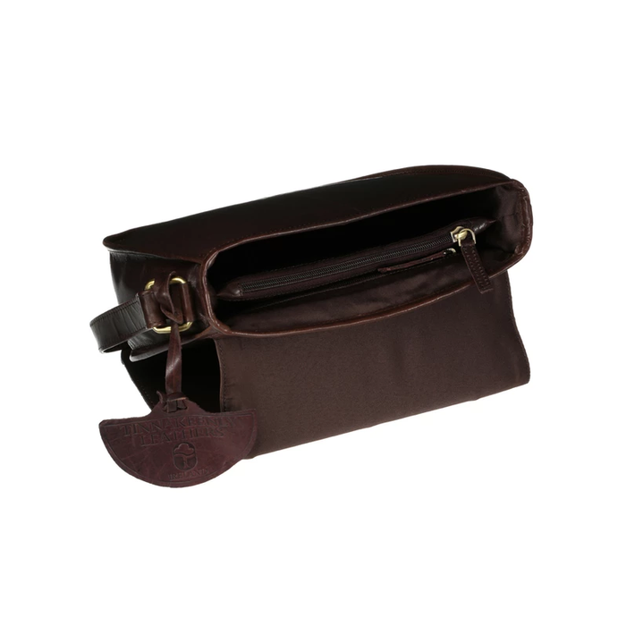 inside view of  brown leather saddle bag by tinnakeenly