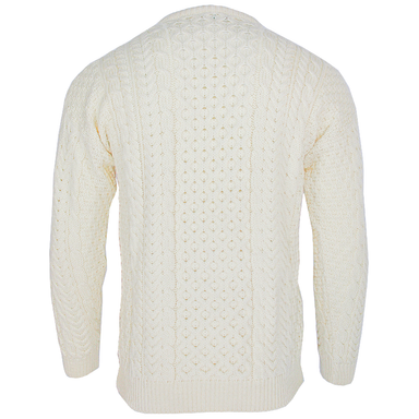 back of honeycomb stitch merino crew neck sweater