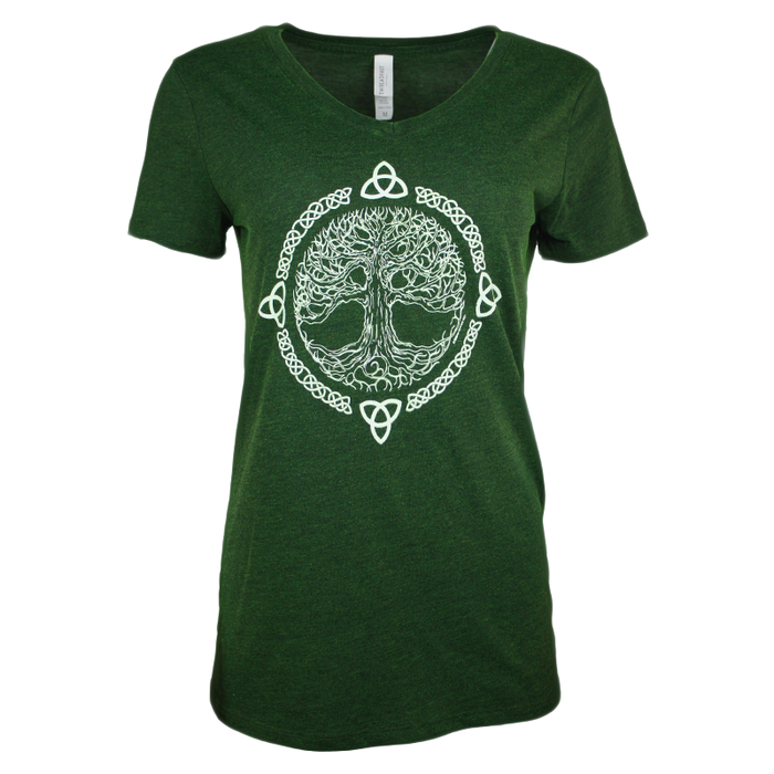 front of emerald tree of life v-neck t-shirt