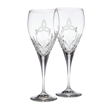trinity knot wine pair of glasses by galway crystal
