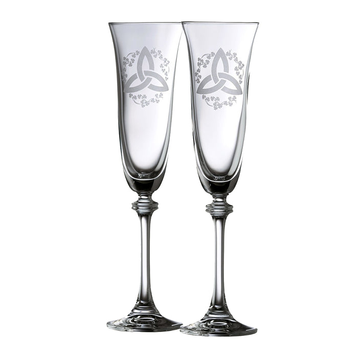 trinity and shamrock flute pair by galway crystal