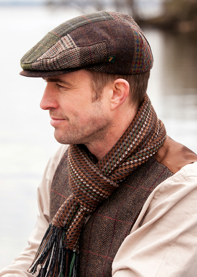 mens irish wool flat cap trinity patch cap