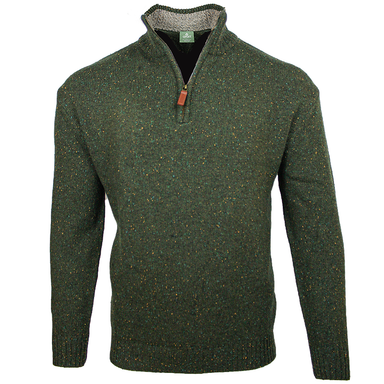 front of aran woollen mills troyer half zip sweater