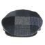 front view of blue traditional flat patch cap by hanna hats