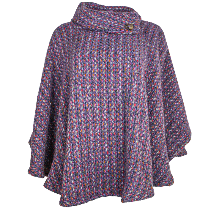 front of violet laura poncho by branigan weaver