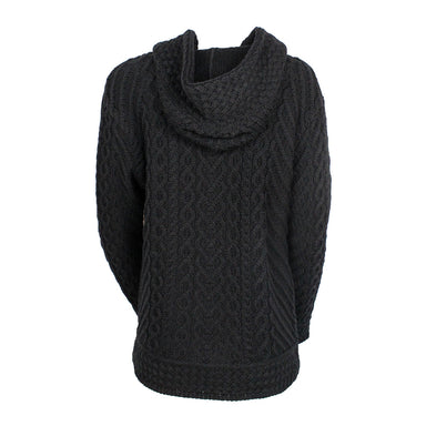 back of black side zip hoodie by west end knitwear