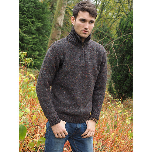 model of donegal tweed half zip irish sweater by west end knitwear