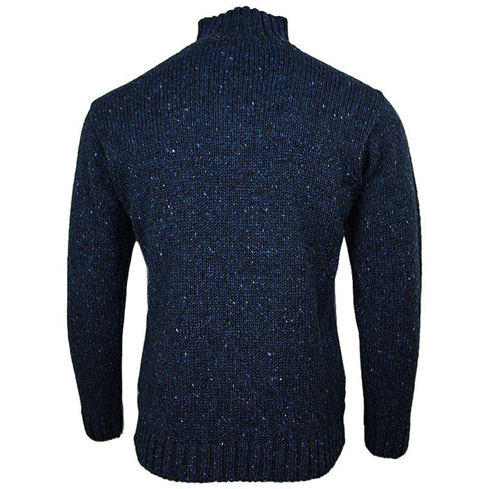 back of west end knitwear blue tweed wool half zip sweater