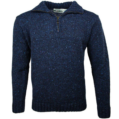 front of west end knitwear blue tweed wool half zip sweater