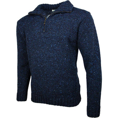 side view of west end knitwear blue tweed wool half zip sweater
