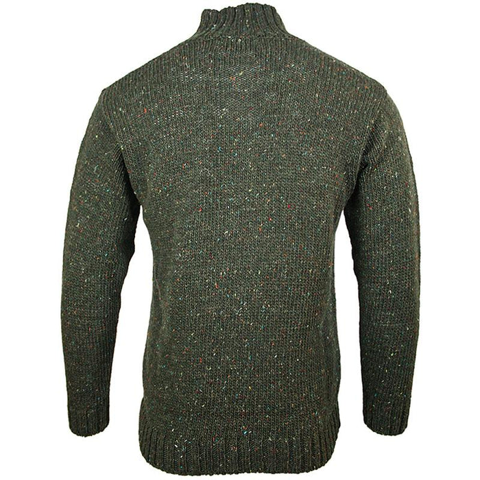 back of west end knitwear green tweed wool half zip sweater