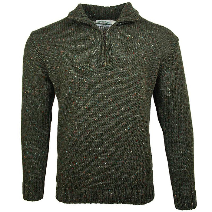 front of west end knitwear green tweed wool half zip sweater