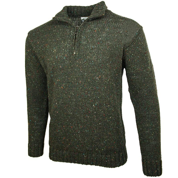 side view of west end knitwear green tweed wool half zip sweater