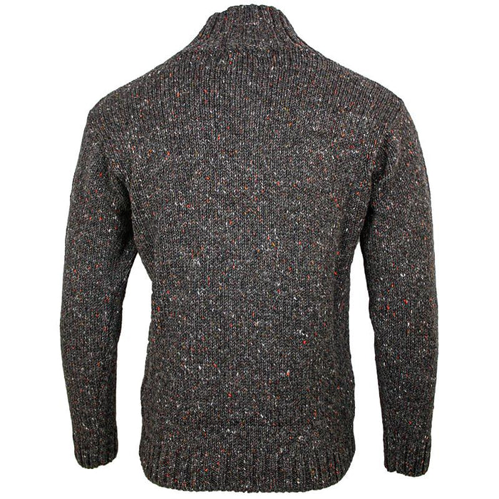 back of west end knitwear graphite tweed wool half zip sweater