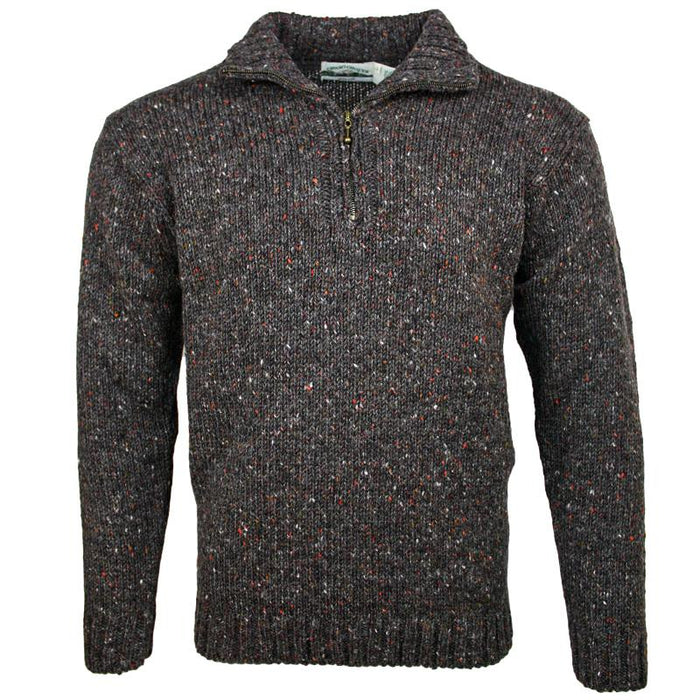 front of west end knitwear graphite tweed wool half zip sweater