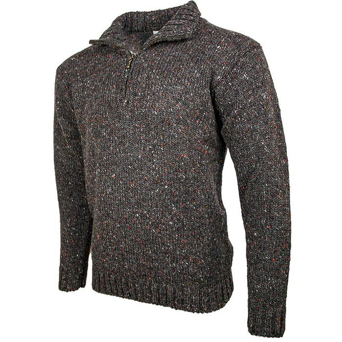 side view of west end knitwear graphite tweed wool half zip sweater