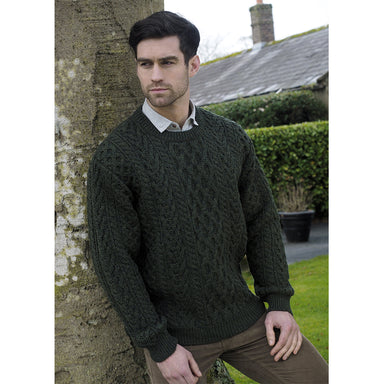 model of army green heavy crew neck sweater by west end knitwear