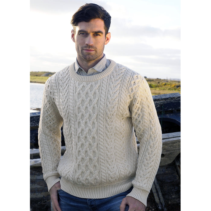 model of natural heavy crew neck sweater by west end knitwear