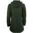 back of army green hooded full zip coat by west end knitwear