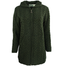 front of army green hooded full zip coat by west end knitwear
