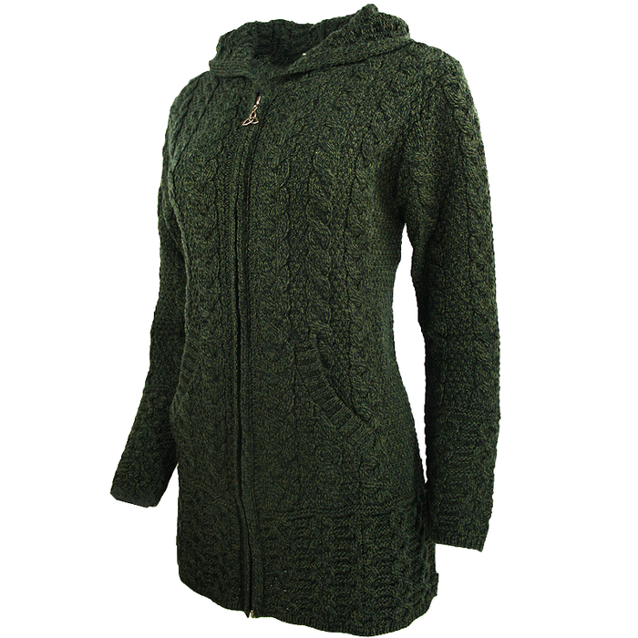 side view of army green hooded full zip coat by west end knitwear