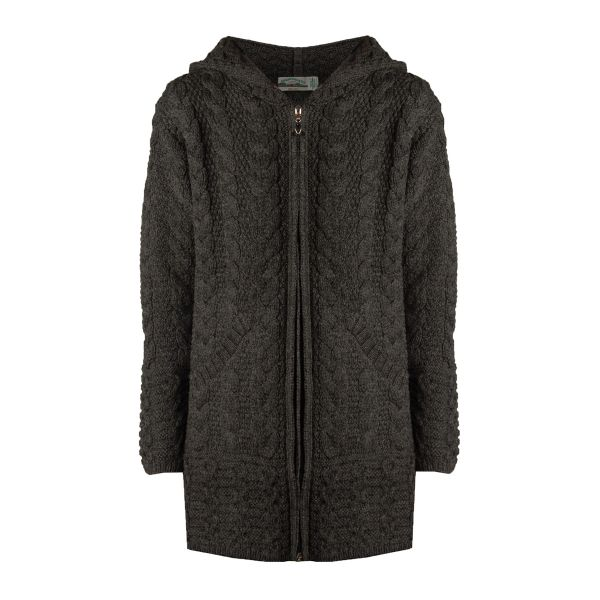 front of charcoal hooded full zip coat by west end knitwear