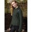 model of army green ladies side zip coat by west end knitwear