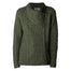 army green ladies side zip coat by west end knitwear
