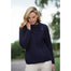 model of navy blue ladies side zip coat by west end knitwear