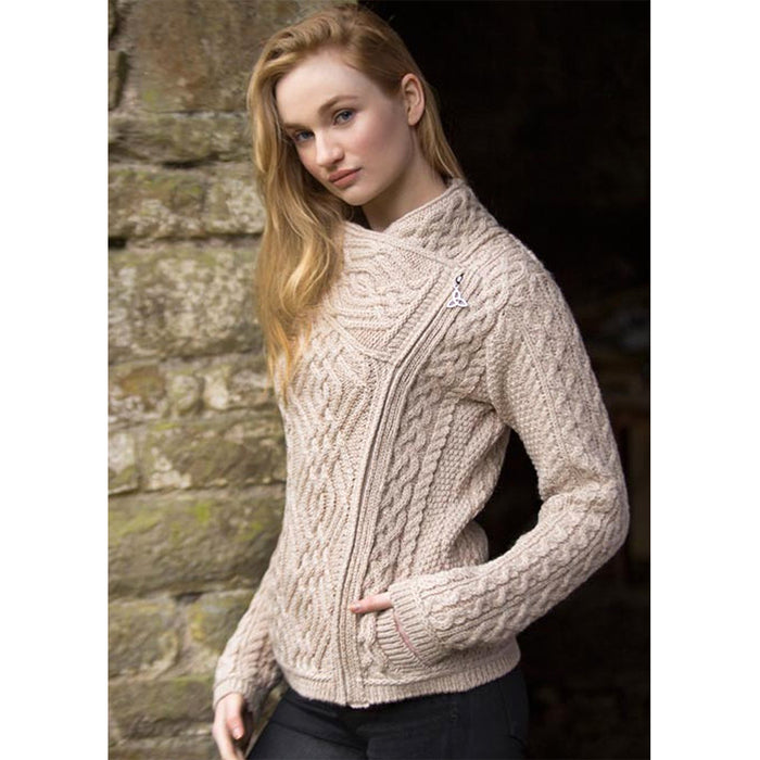 model of parsnip ladies side zip coat by west end knitwear