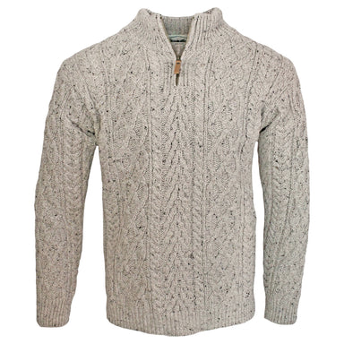 oatmeal half zip aran sweater for men by west end knitwear