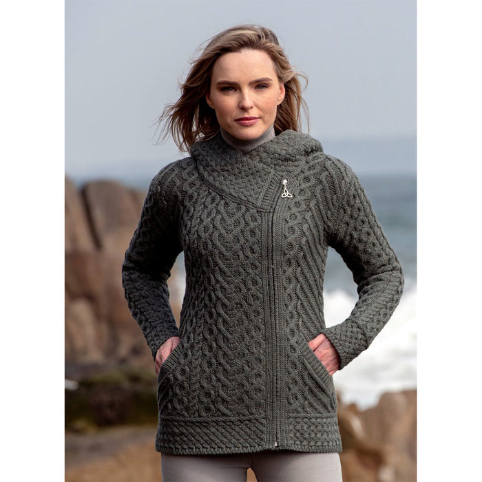 model of thundra side zip hoodie by west end knitwear