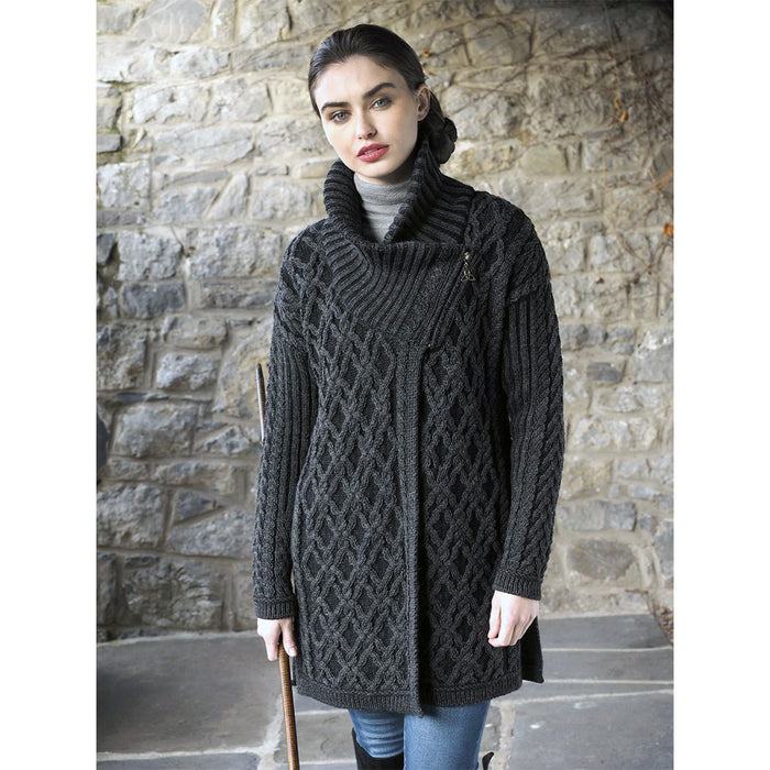 two tone oversize coat by west end knitwear
