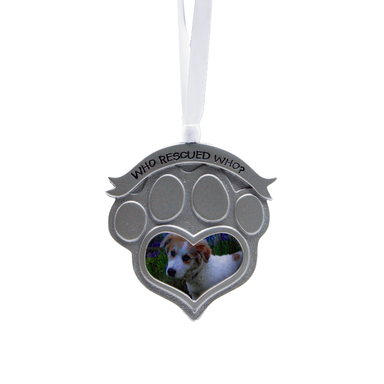 "Pet Photo Ornament ""Who Rescued Who"""