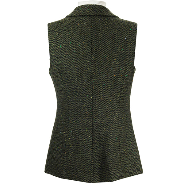 back of green ladies wool tweed gilet by celtic lady